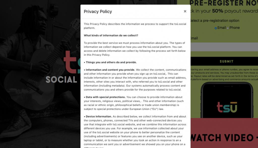 privacy policy box on tsu.social